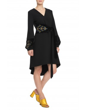 Chandelier Black Wool Dress with Velvet Touch