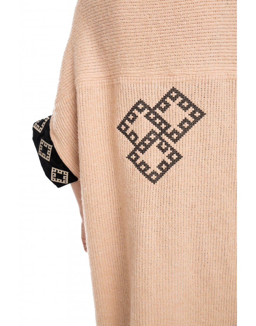 Diamonds Beige-Pink Wool Cardigan with Velvet Touch