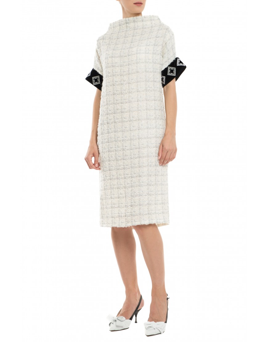 Diamonds Silver Wool Dress with Velvet Touch