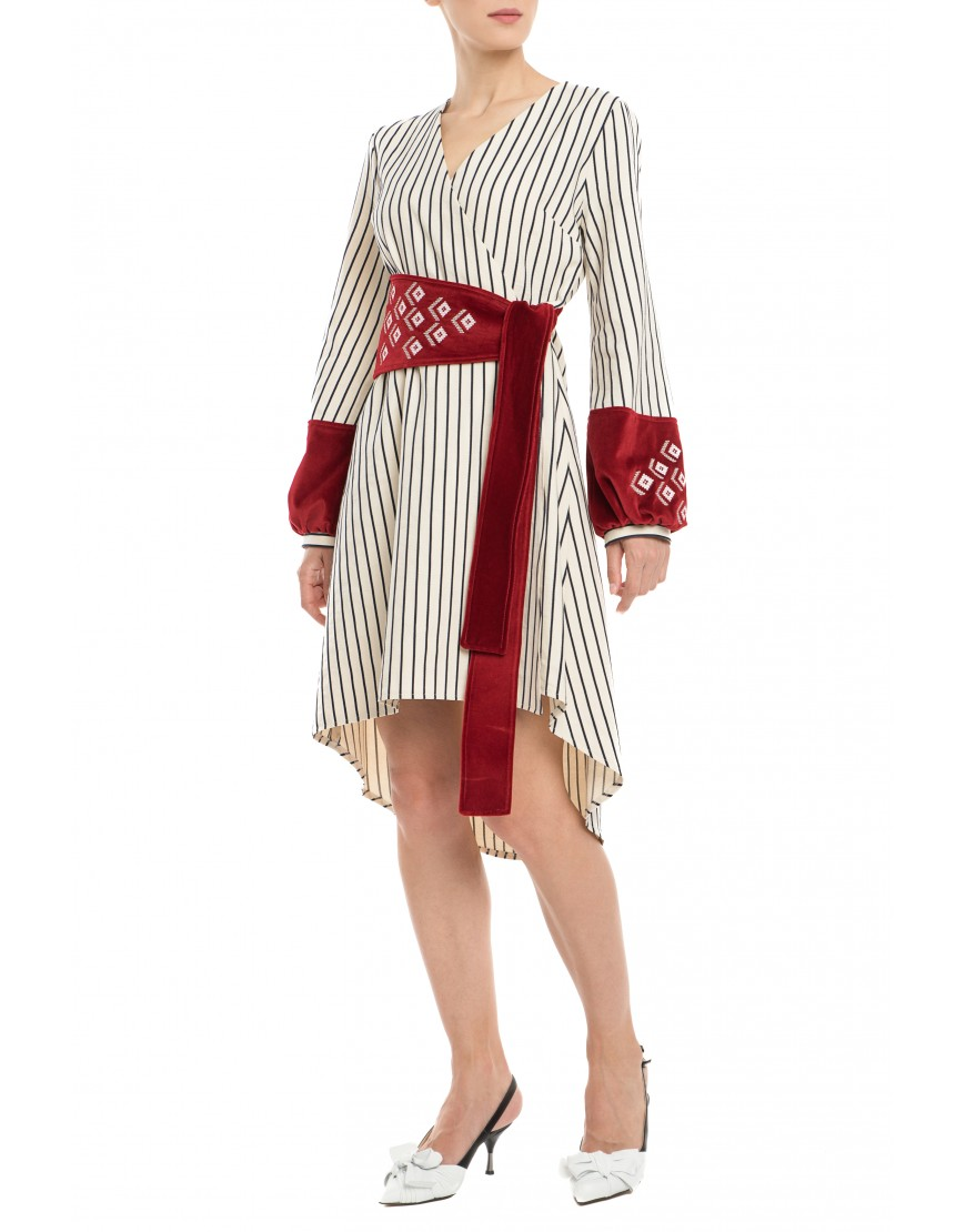 Diamonds Stripes Dress with Velvet Touch