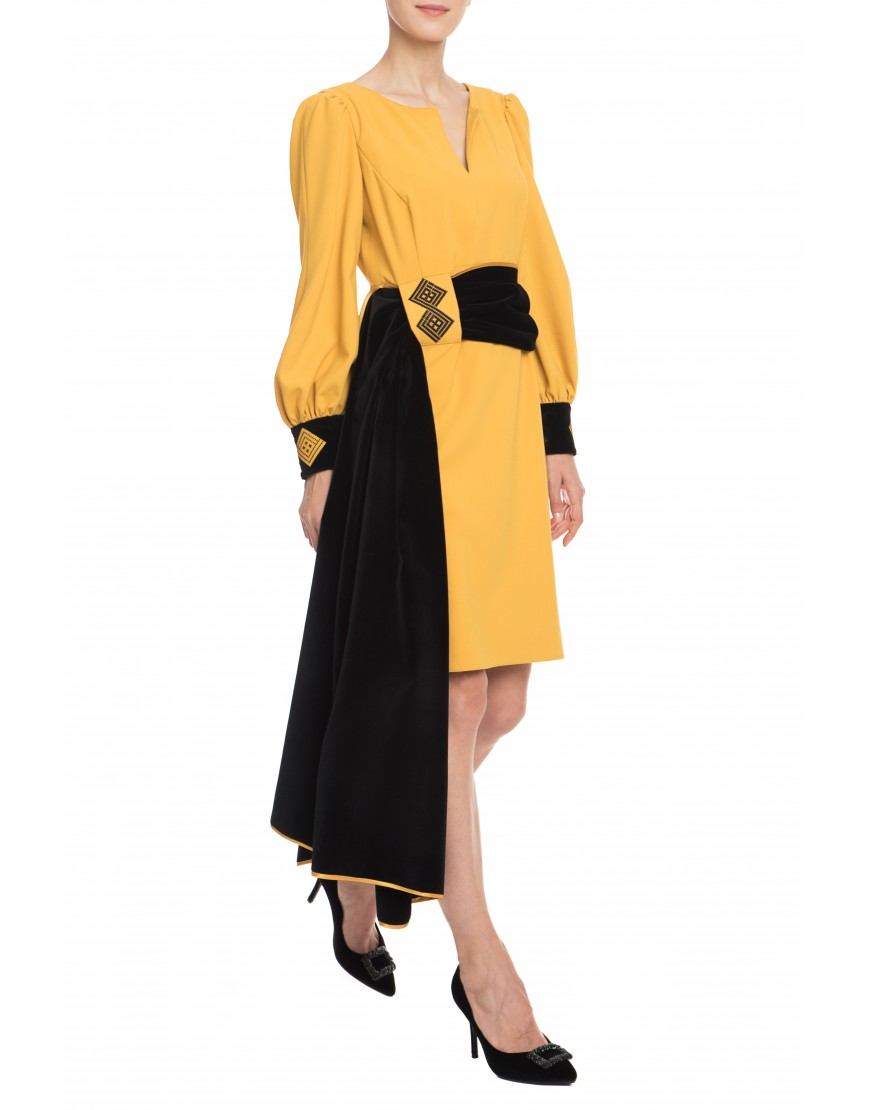 Infinity Mustard Yellow Dress with Velvet Touch