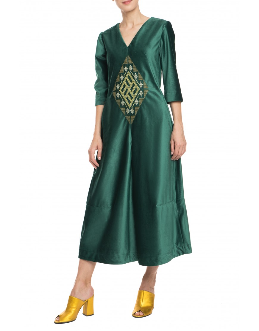 Labyrinth Green Velvet Jumpsuit