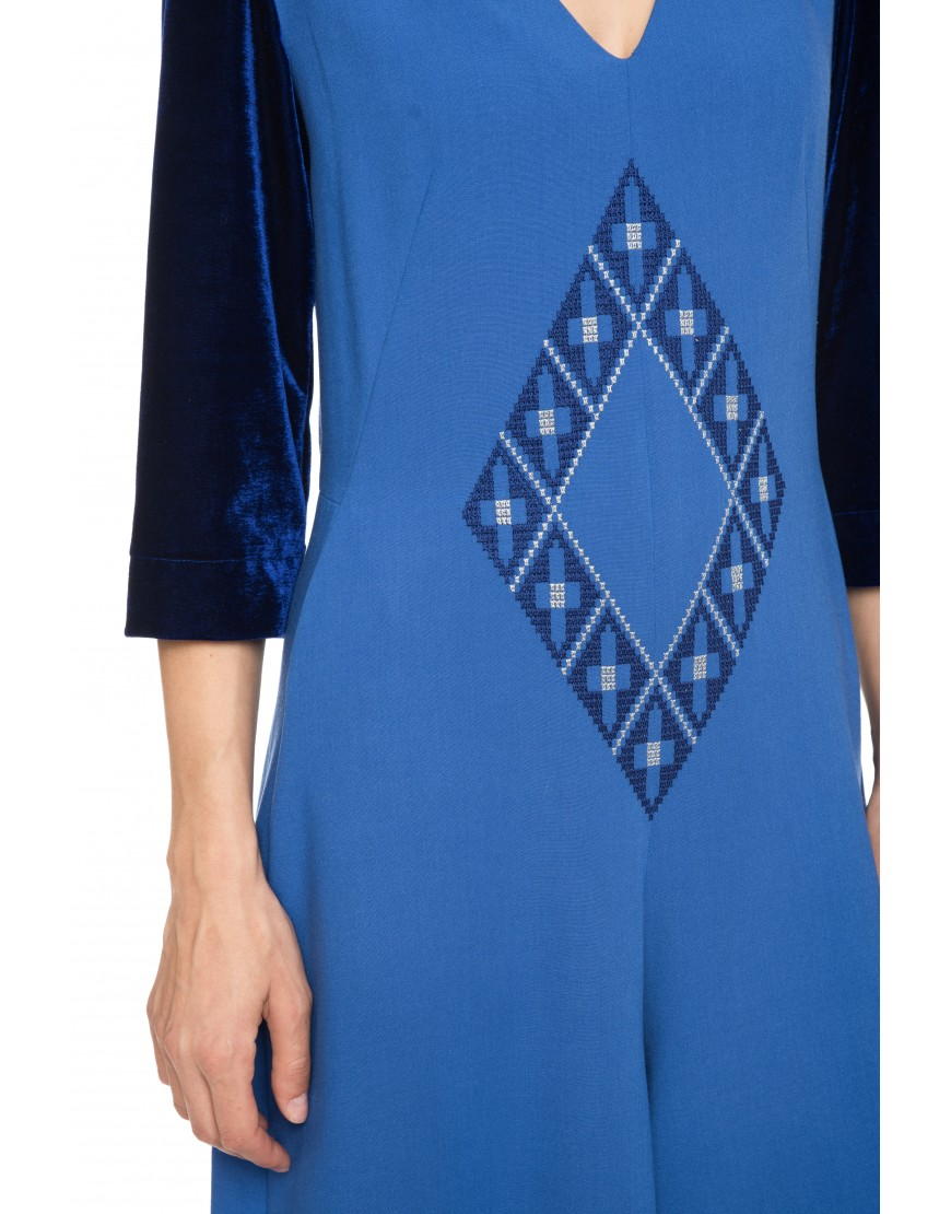 Origami Blue Jumpsuit with Velvet Touch