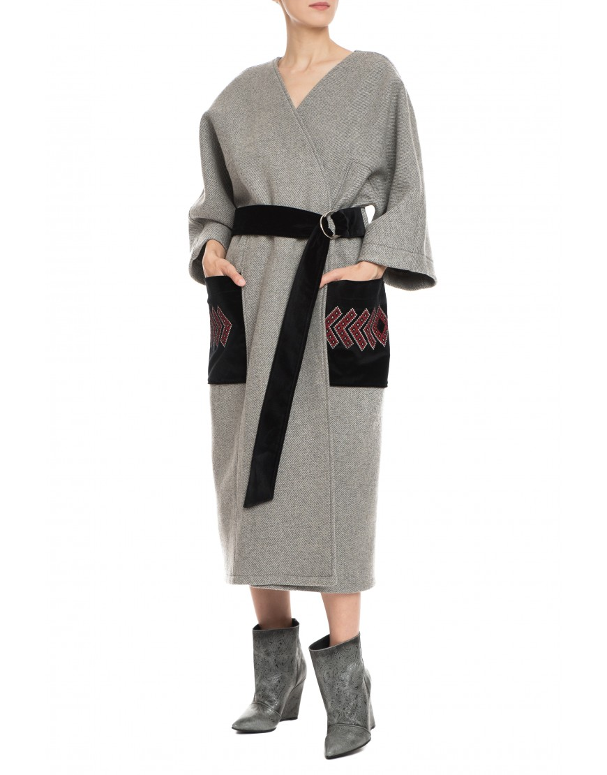 Arrows Grey Wool Coat with Velvet Touch