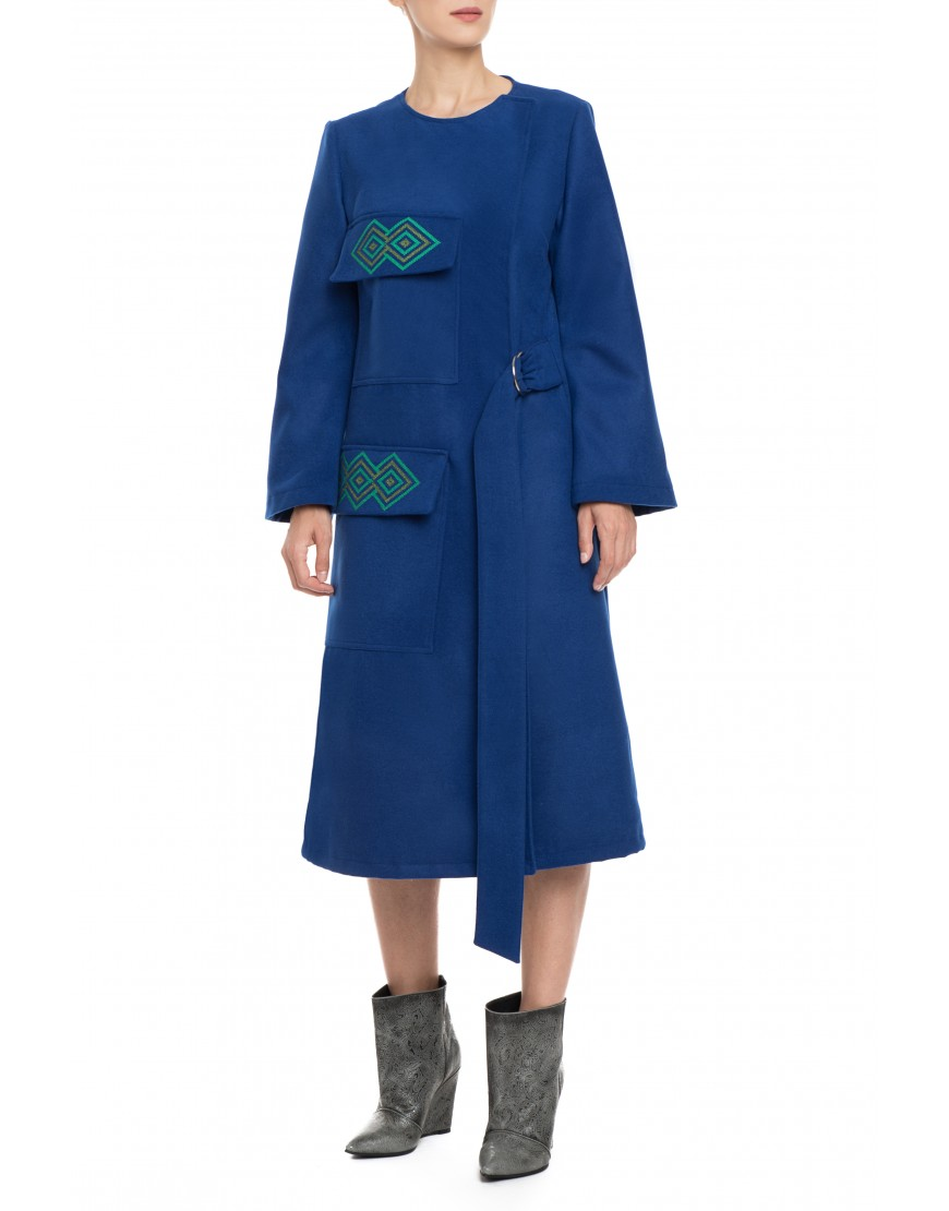 Diamonds Blue Wool Coat