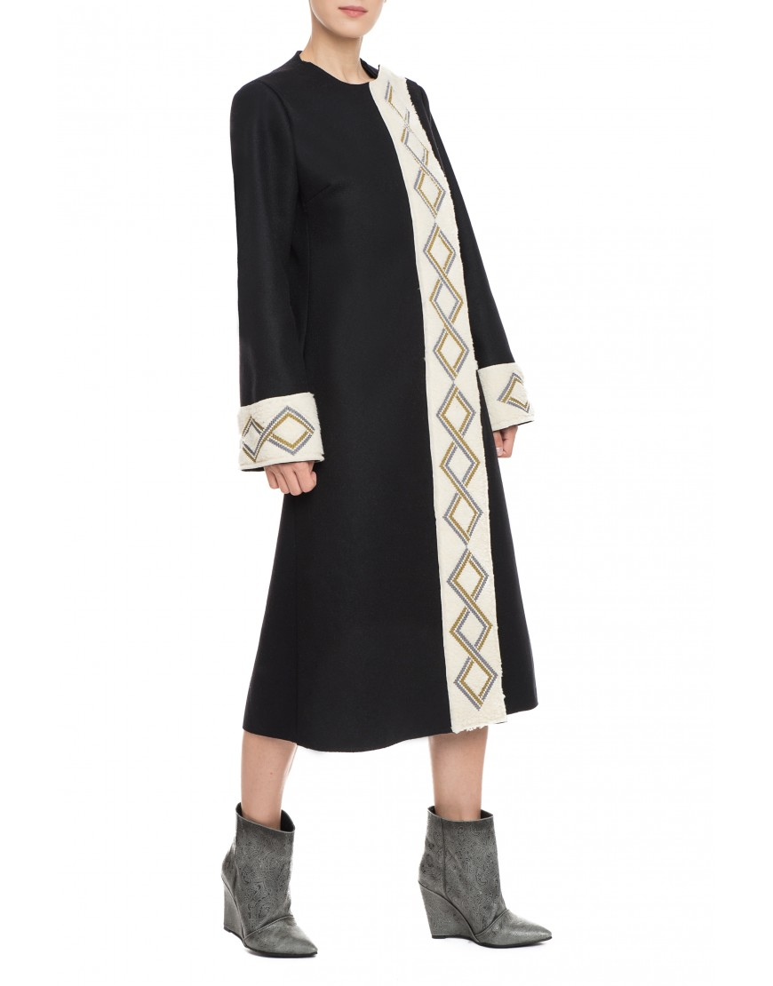 Infinity Black Wool Coat with Fur Touch