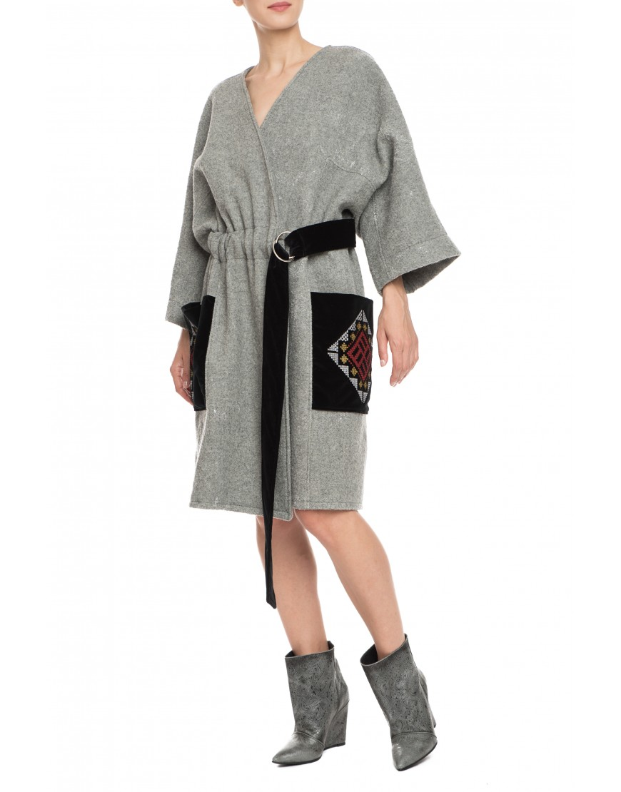 Labyrinth Grey Wool Coat with Velvet Touch
