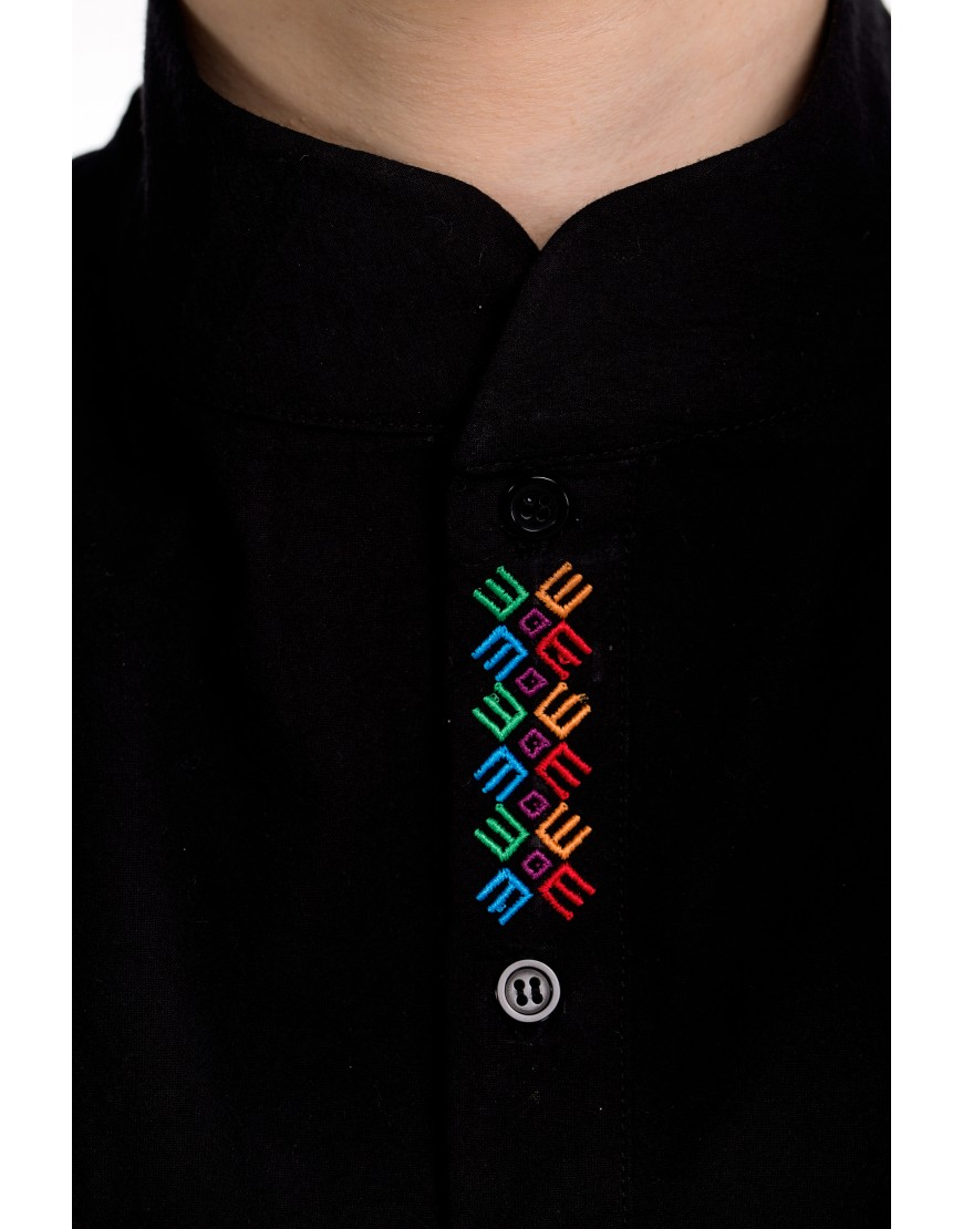 Logo Asymmetric Black Shirt