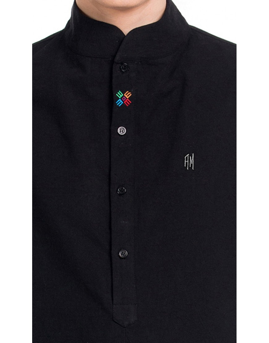 MONOGRAM ASYMMETRIC BLACK SHIRT