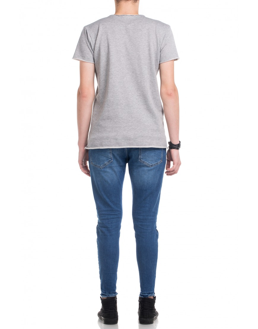 Blossom Eye Tshirt in Grey with Royalblue Touch