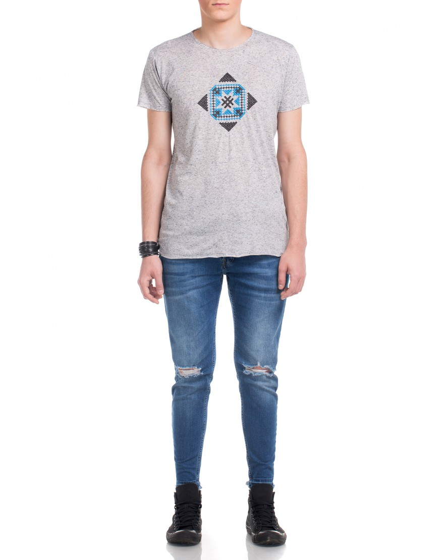Blossom Eye Tshirt in Grey with Skyblue Touch