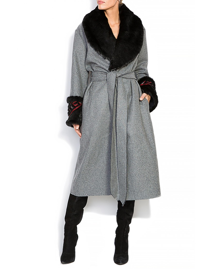 Diamond Grey Wool Coat