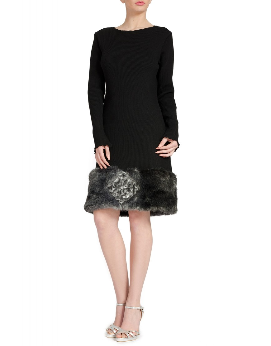 Knit Black Dress with Grey Fur