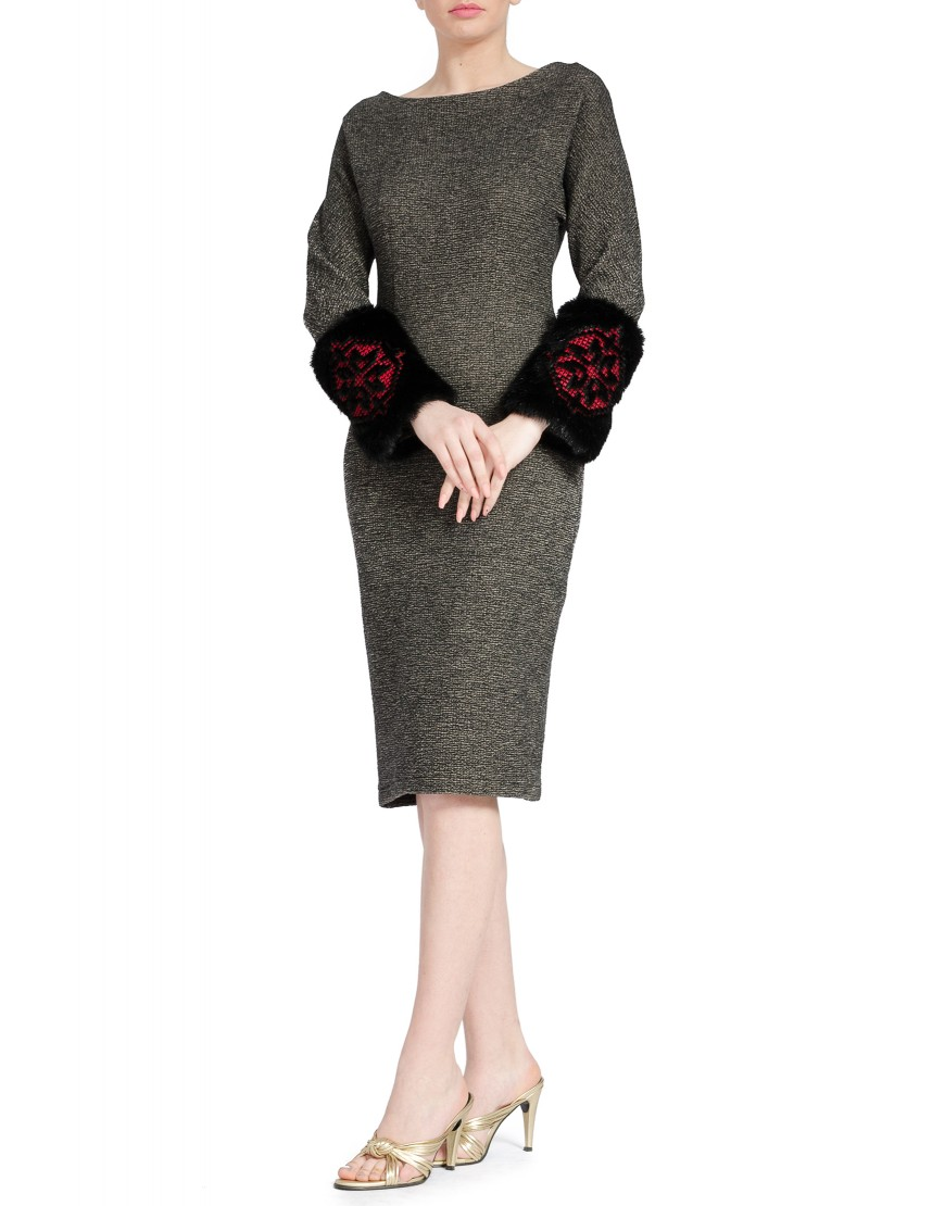 Wool Grey Dress with Fur Sleeves