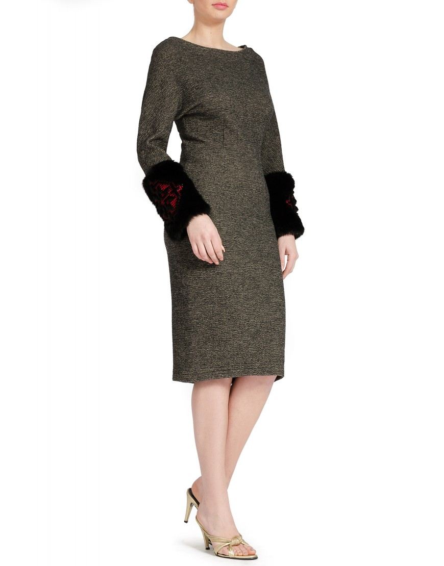 Wool Grey Dress with Fur Slevees