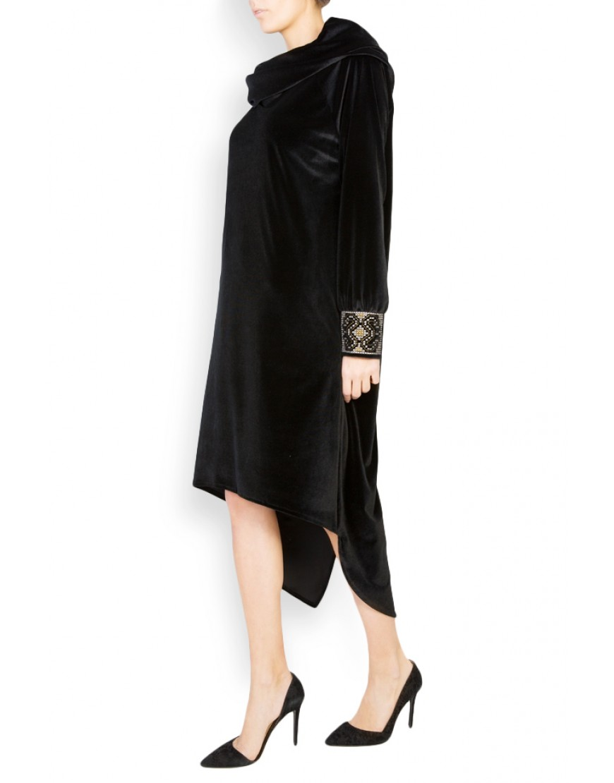Aries Asymmetrical Black Velvet Dress