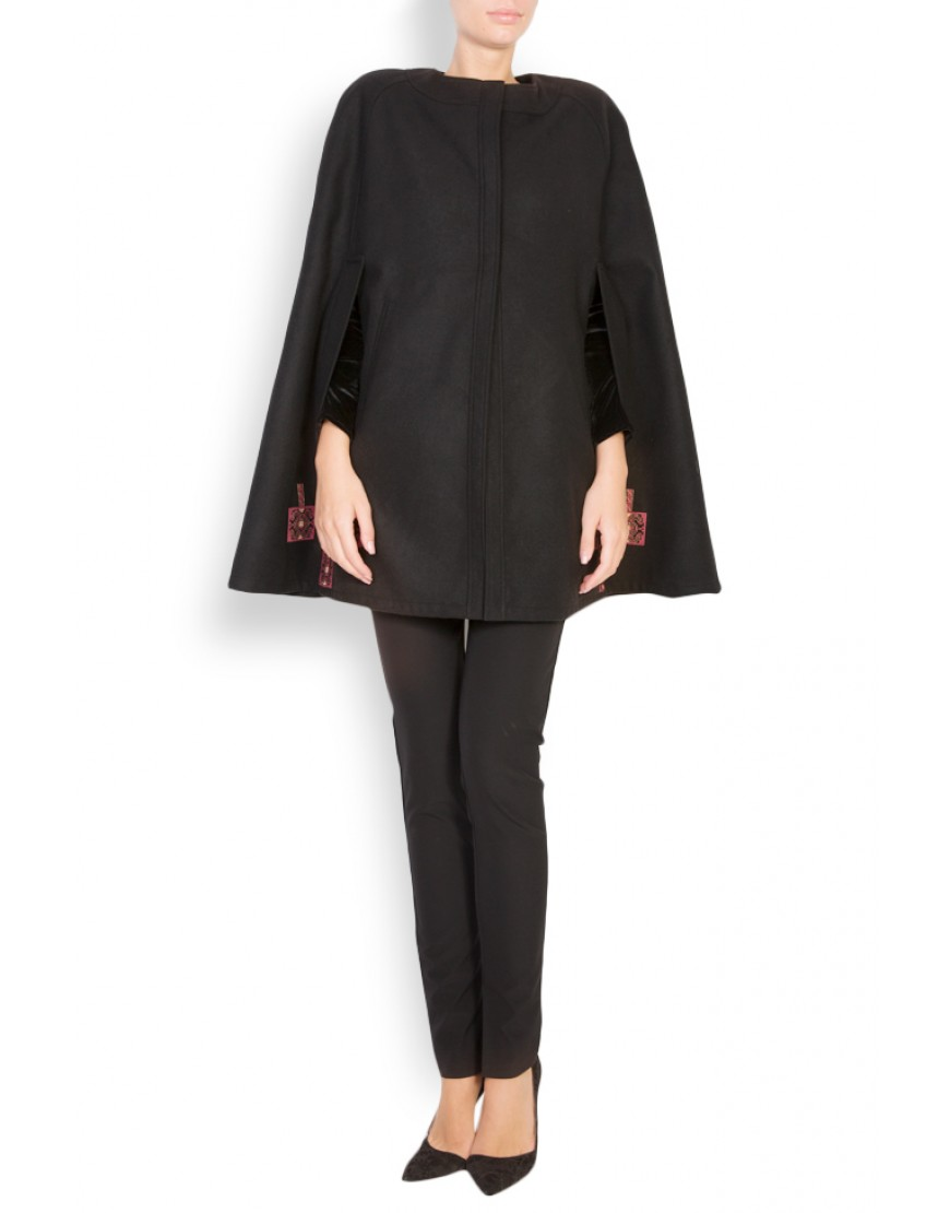 Aries Wool Cape Coat in Black