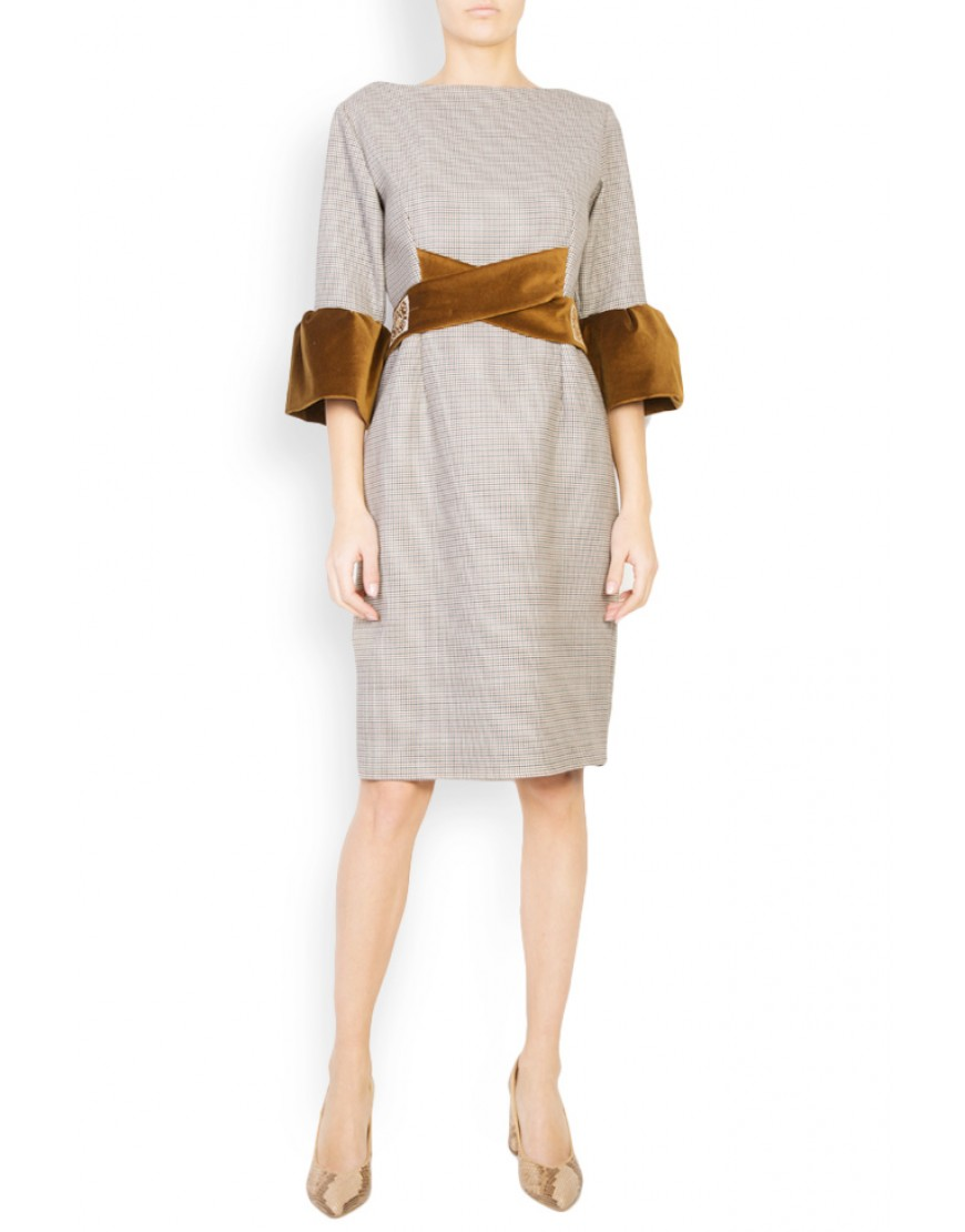 Aries Wool Plaid Dress with Velvet Touch