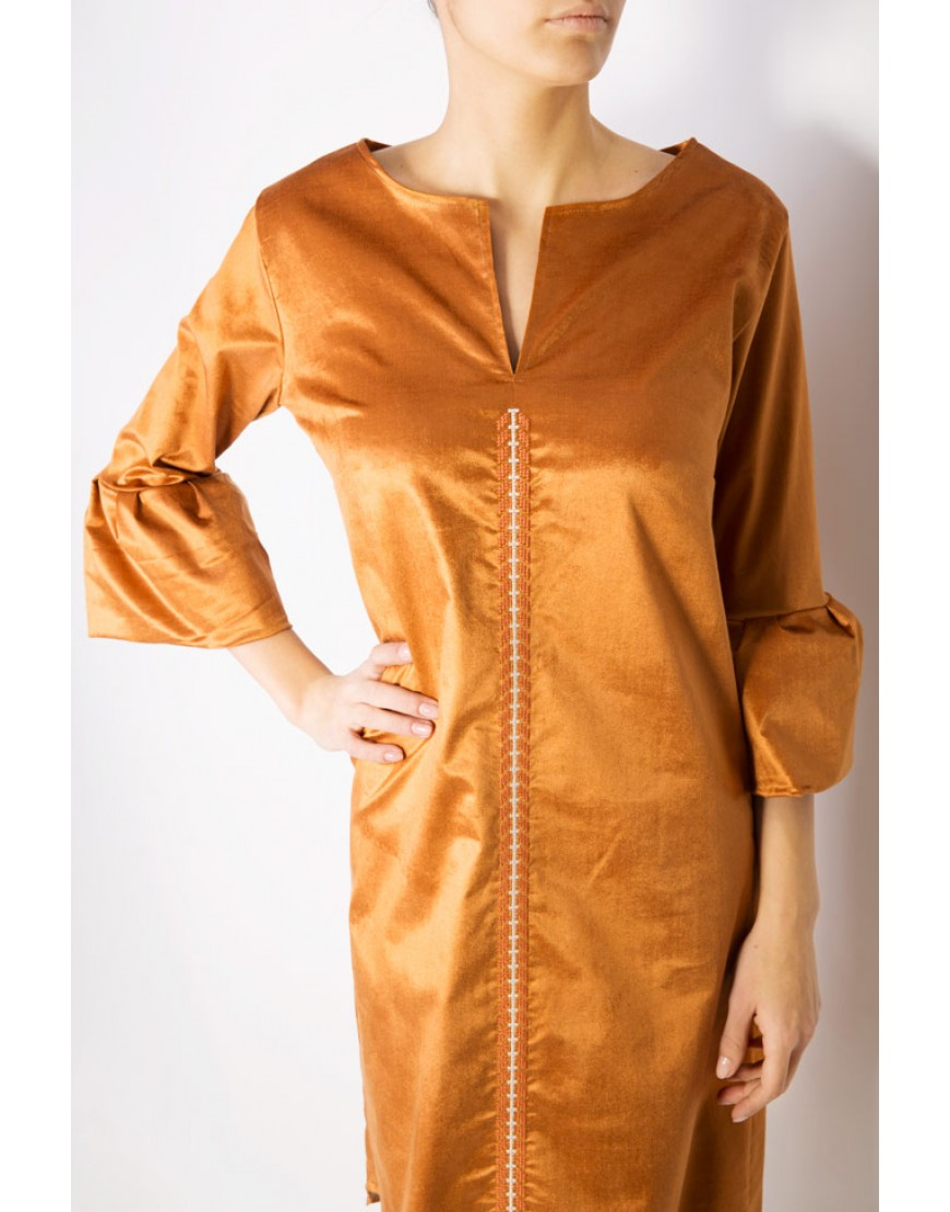 Arrows Golden Velvet Dress