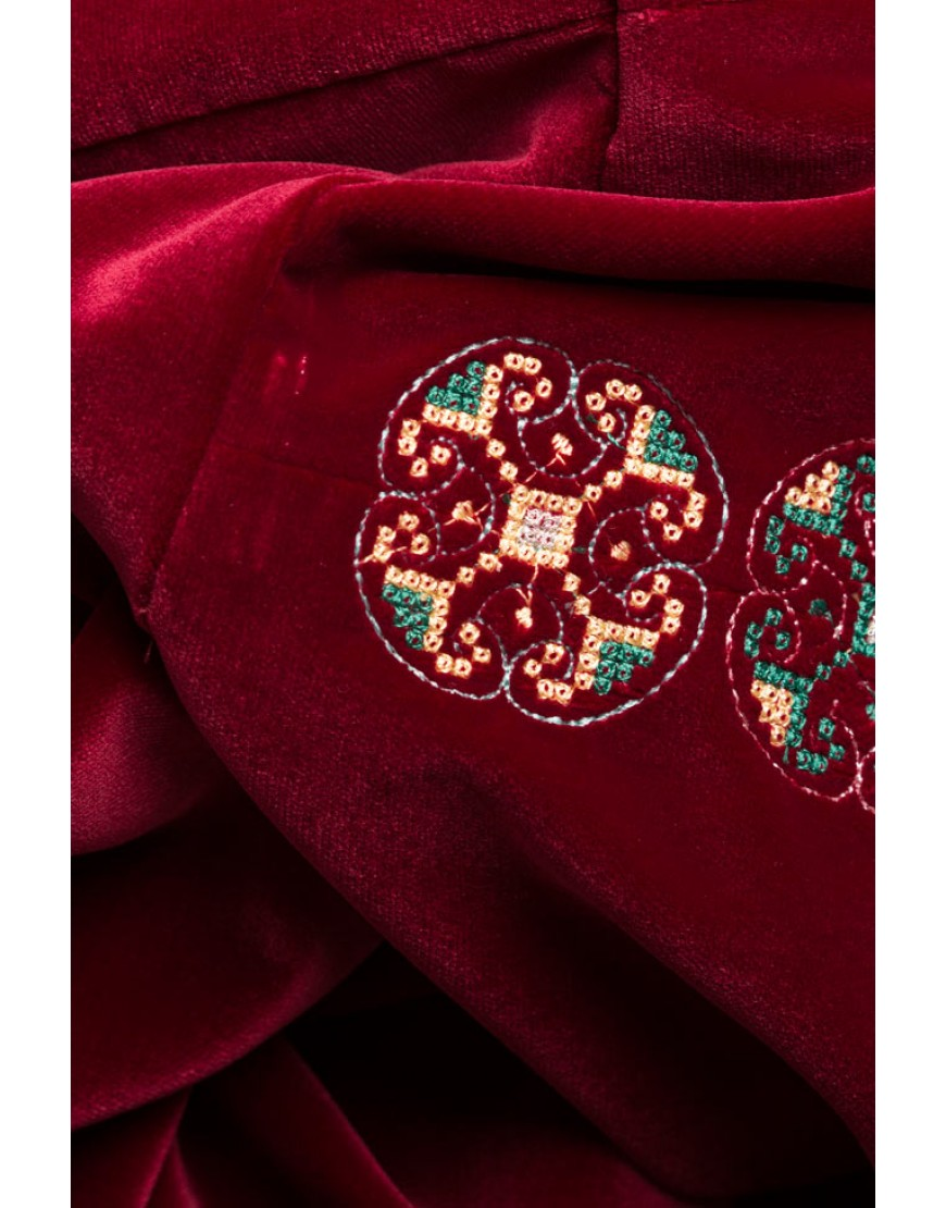 Flowers Marsala Velvet Dress