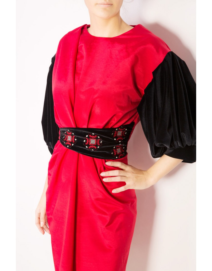 Oxalis Red Dress with Velvet Touch