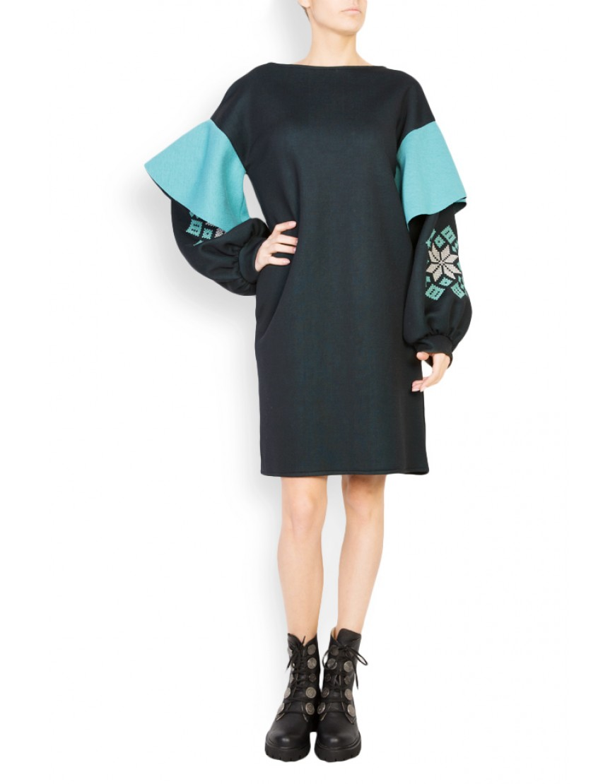 Rosales Neoprene Black Dress with Turquoise Touch