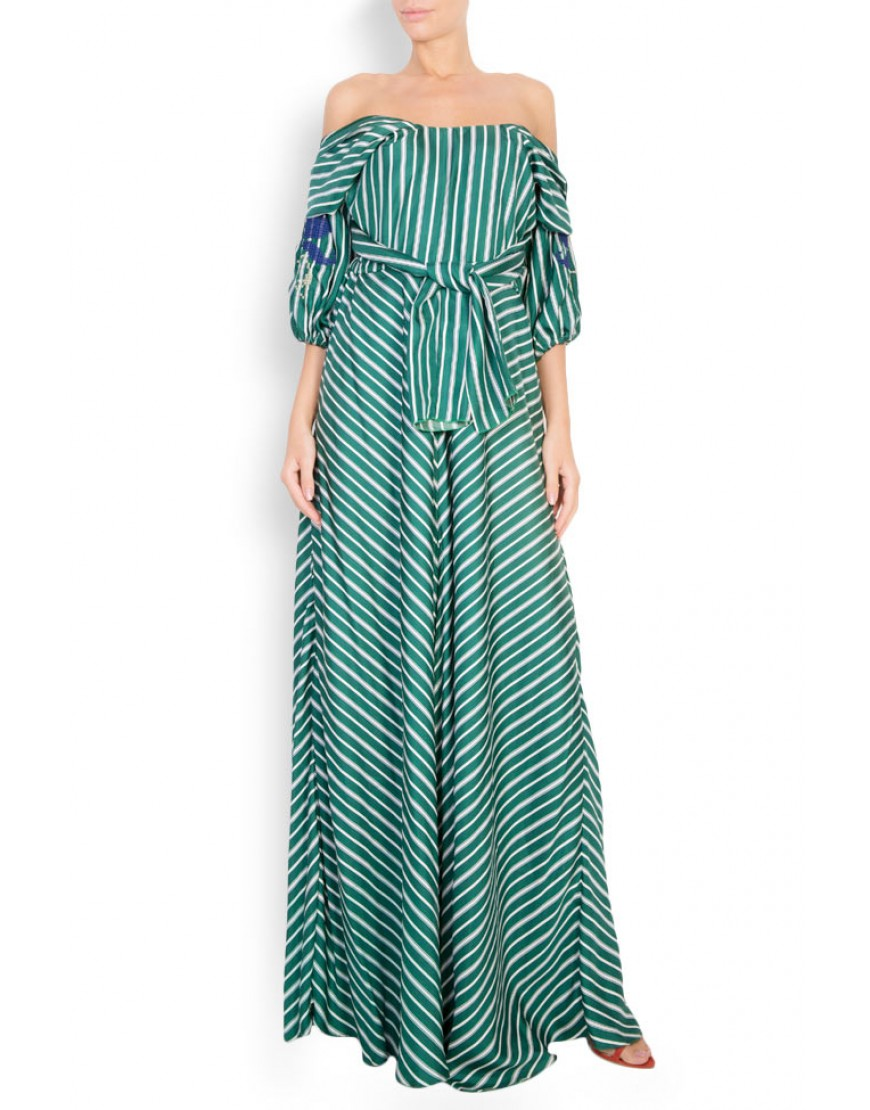 Tulip Striped Green Dress