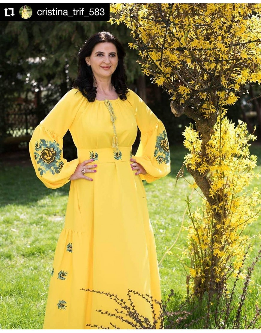 Roses Yellow Long Dress