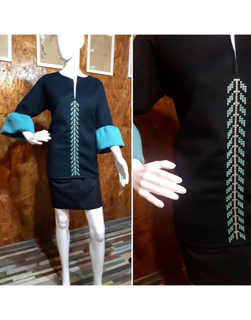 Arrows Black Blouse with Turquoise Touch