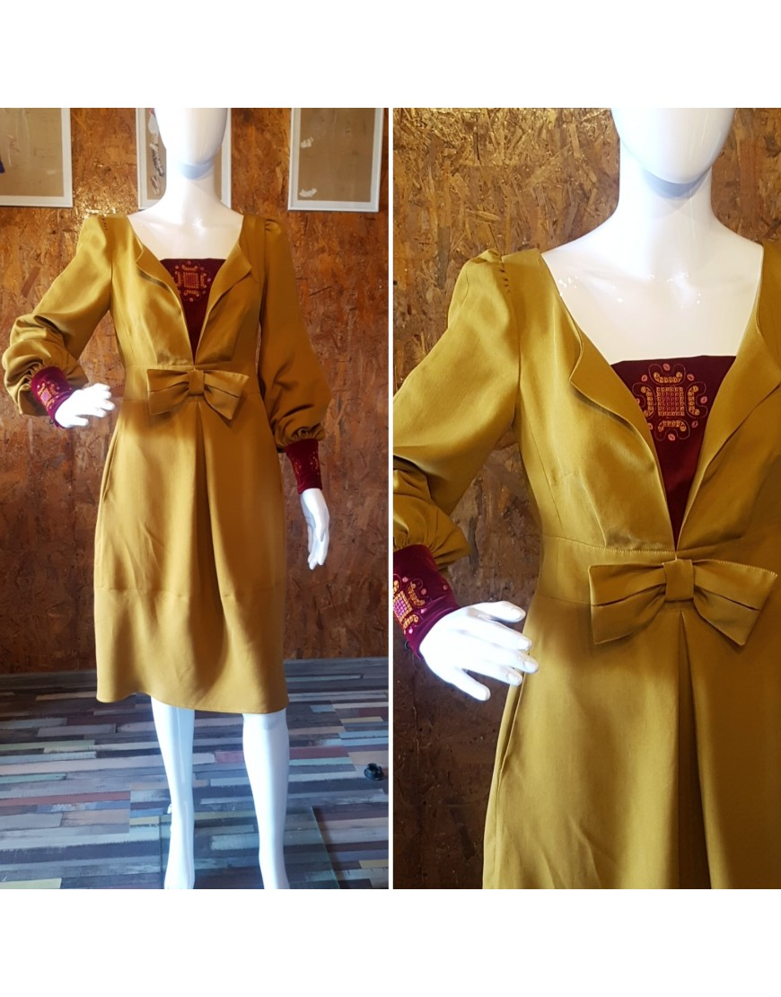 Camel Bow Front Dress with Velvet Touch