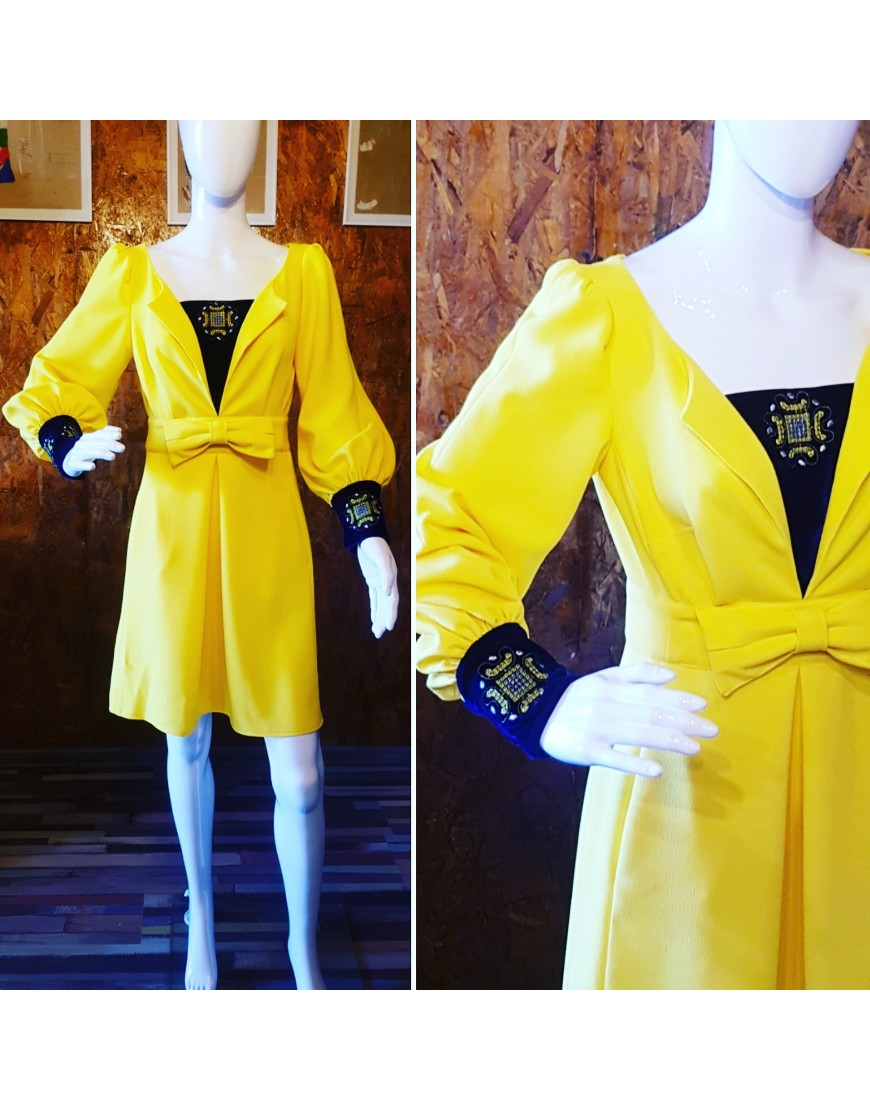Yellow Bow Front Dress with Velvet Touch