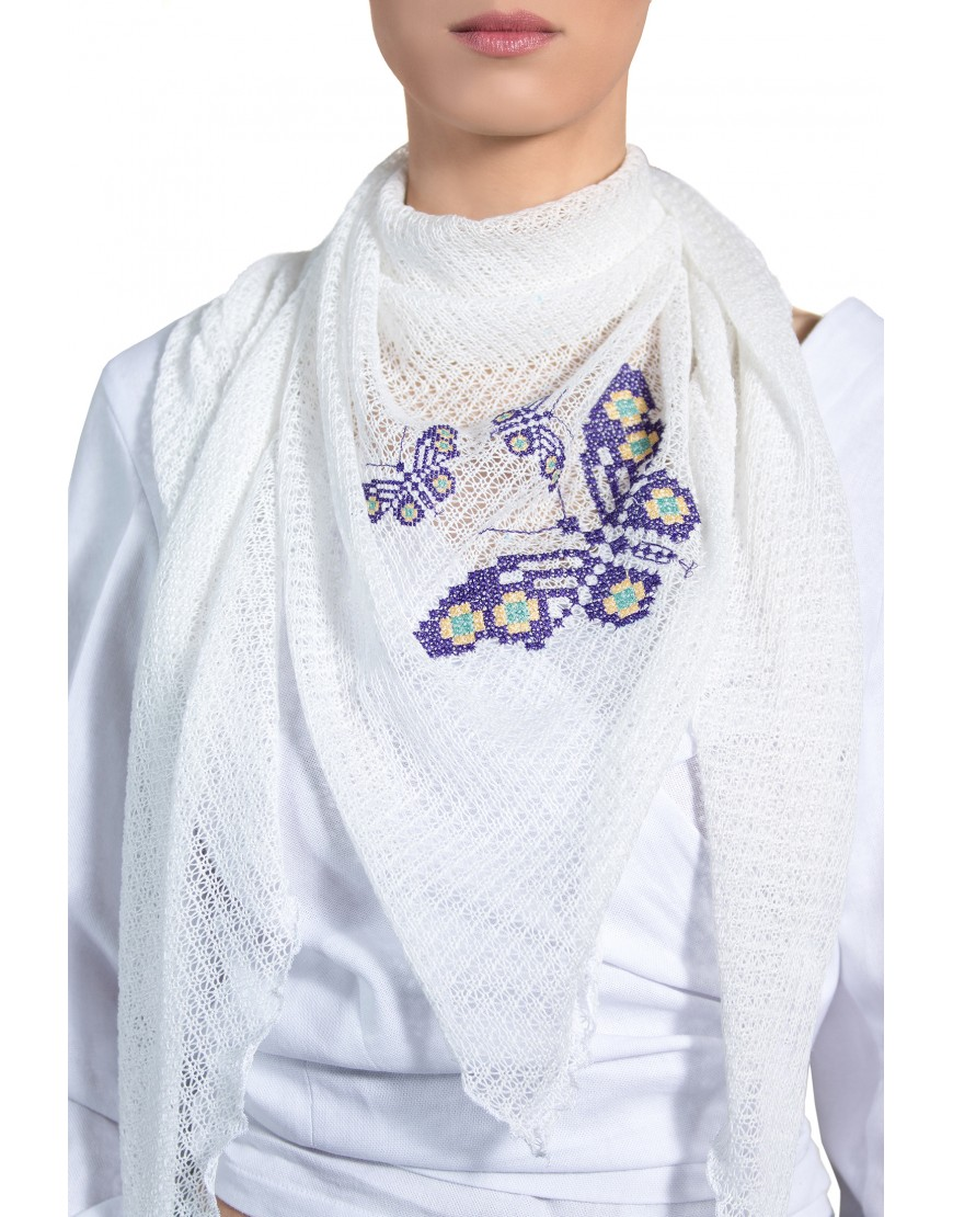 Butterflies White Scarf