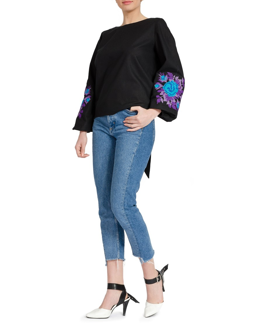 Blue Rose Black Blouse