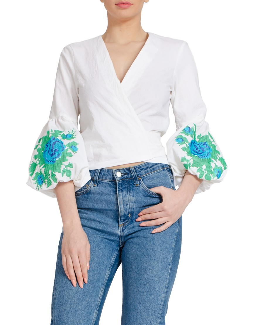 Blue Rose White Shirt