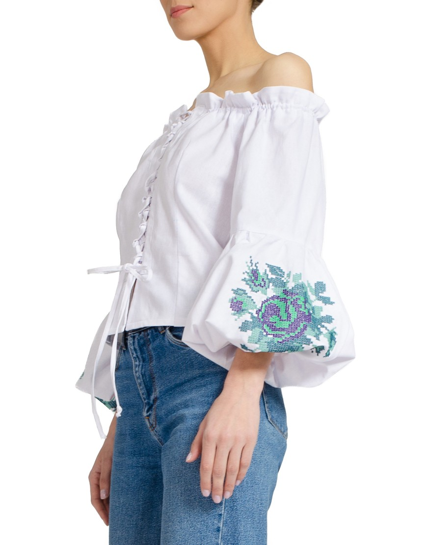 Purple Rose White Blouse
