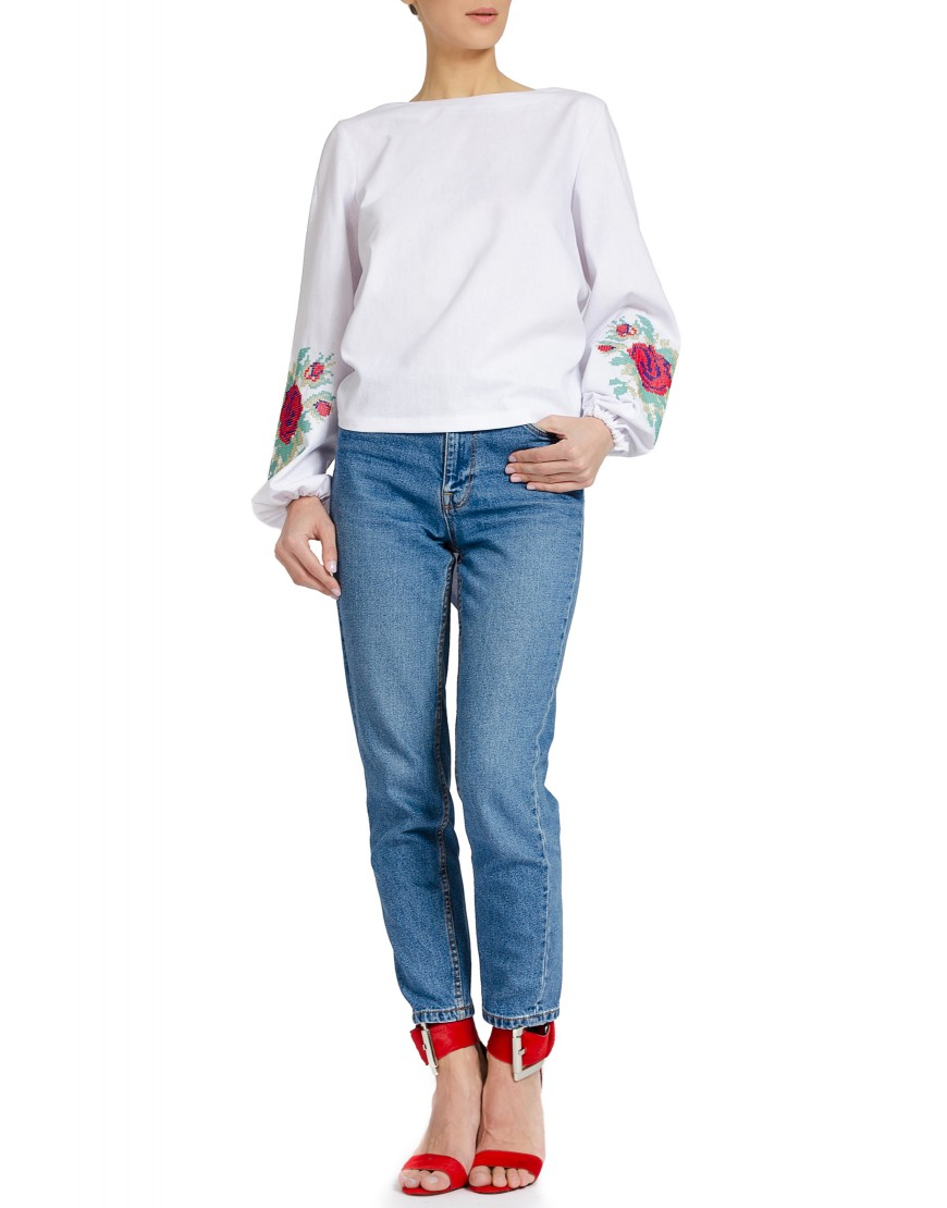 Red Rose White Blouse