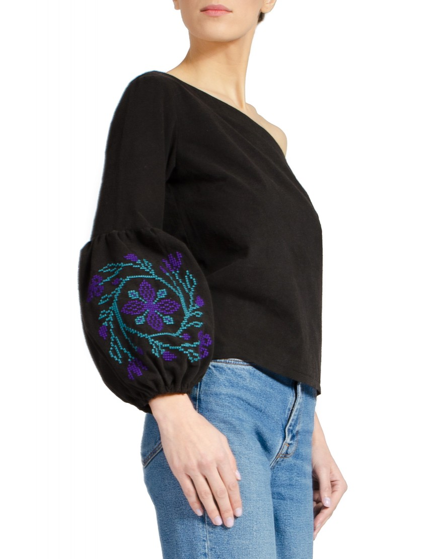 Spiral Flower Black Blouse
