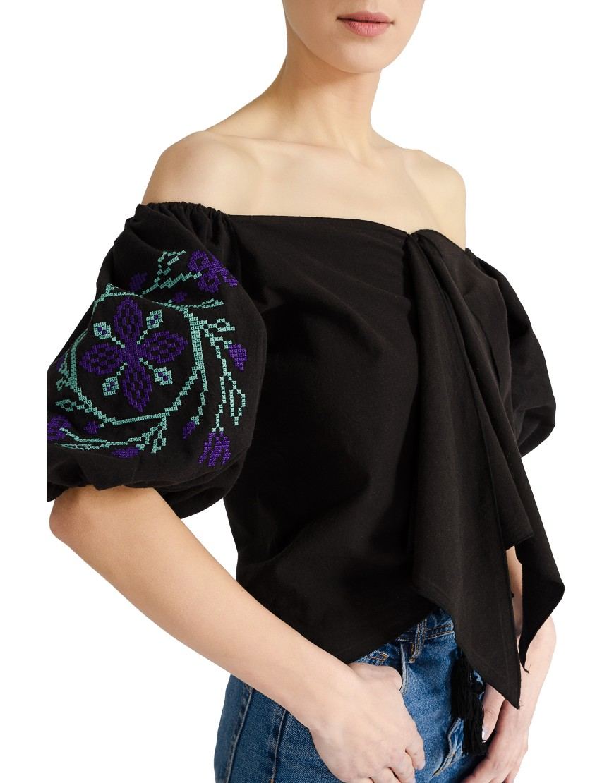 Spiral Flower Black Knot Shirt