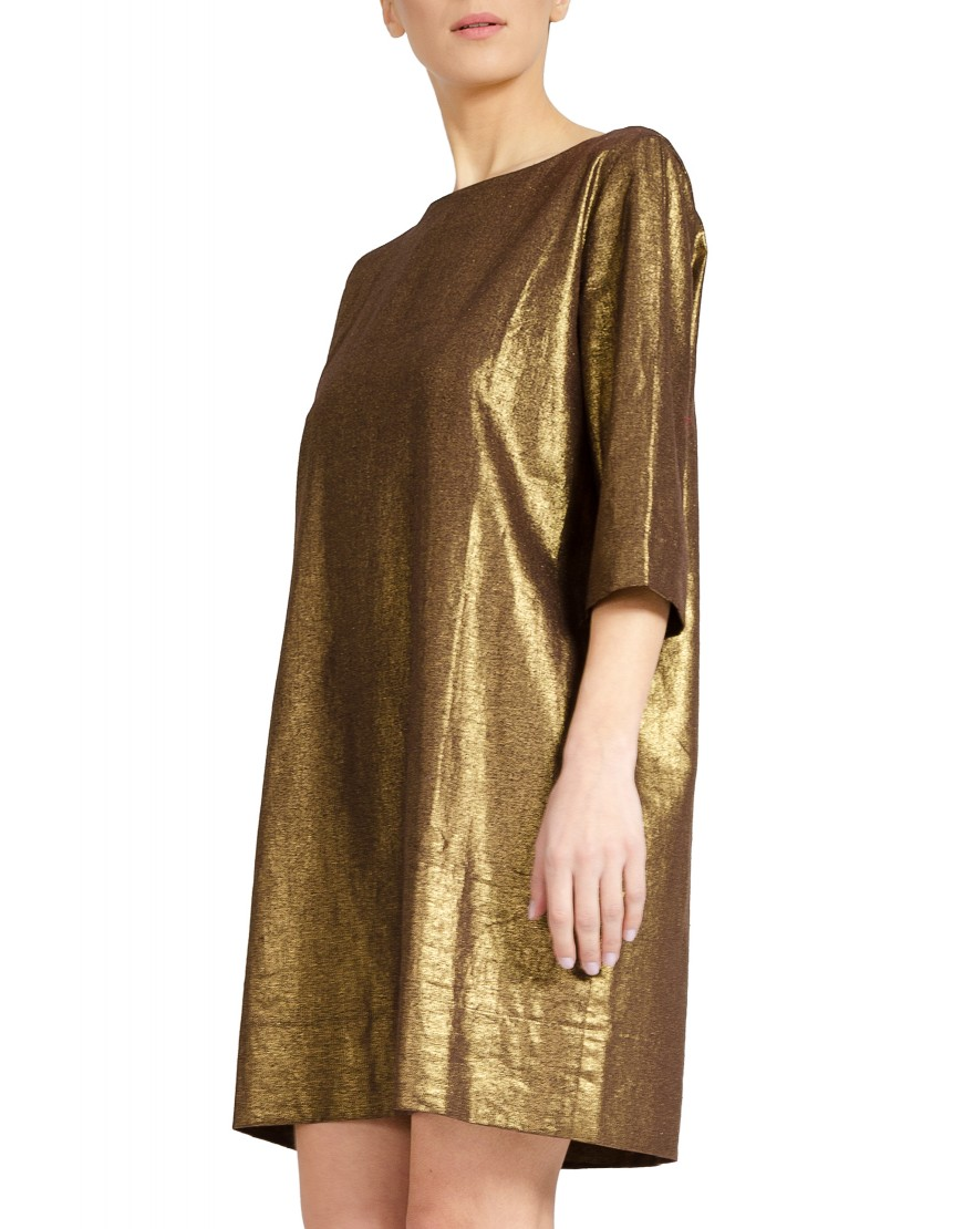 Back Stripes Golden Dress