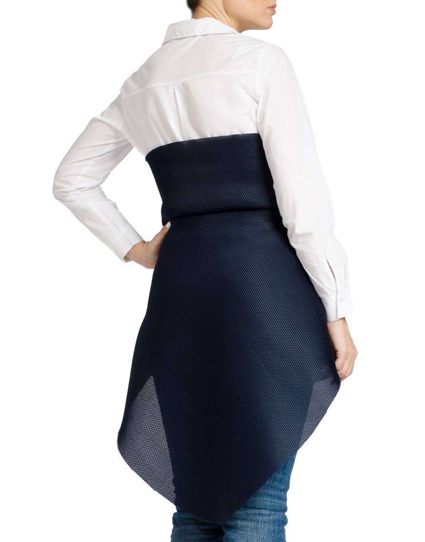 Neoprene Asymmetrical Dress in Navi Blue