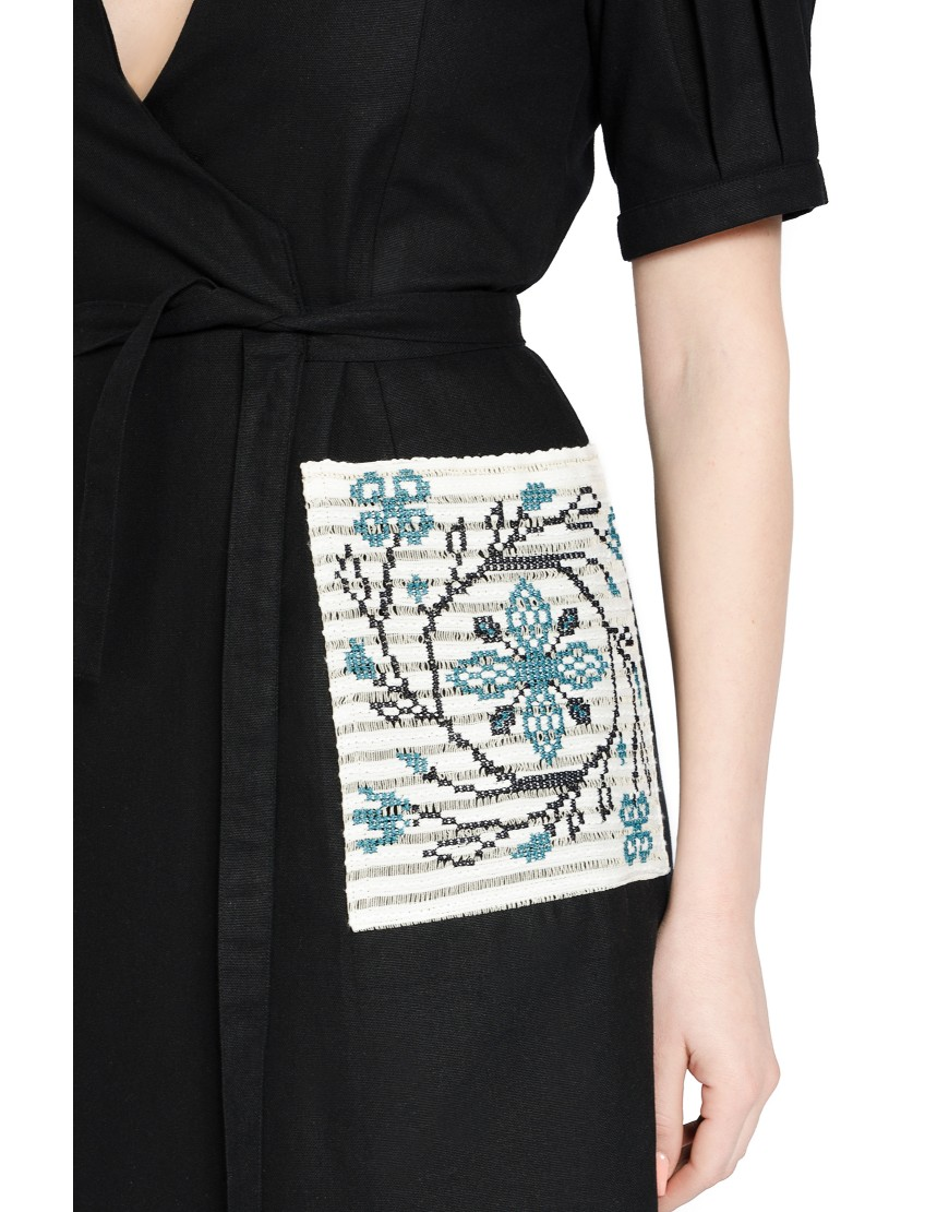 Spiral Flower Black Dress