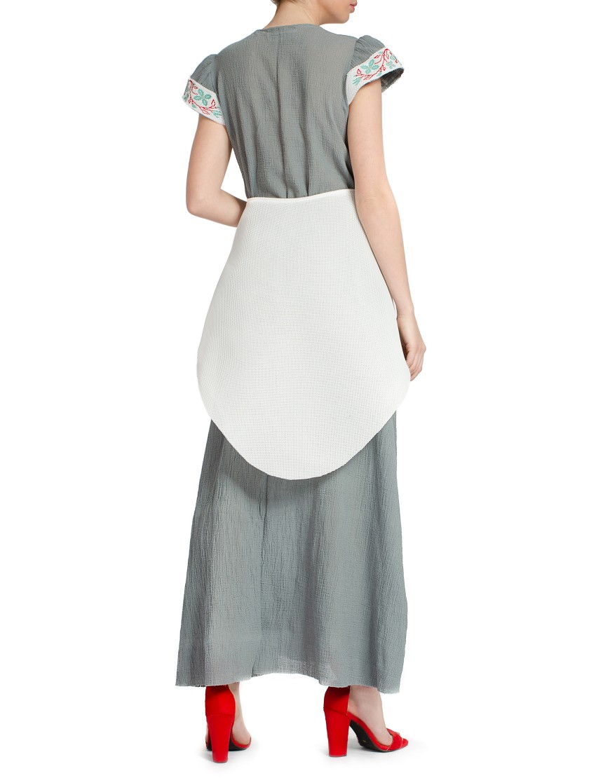 Spiral Flower Neoprene Dress in Grey