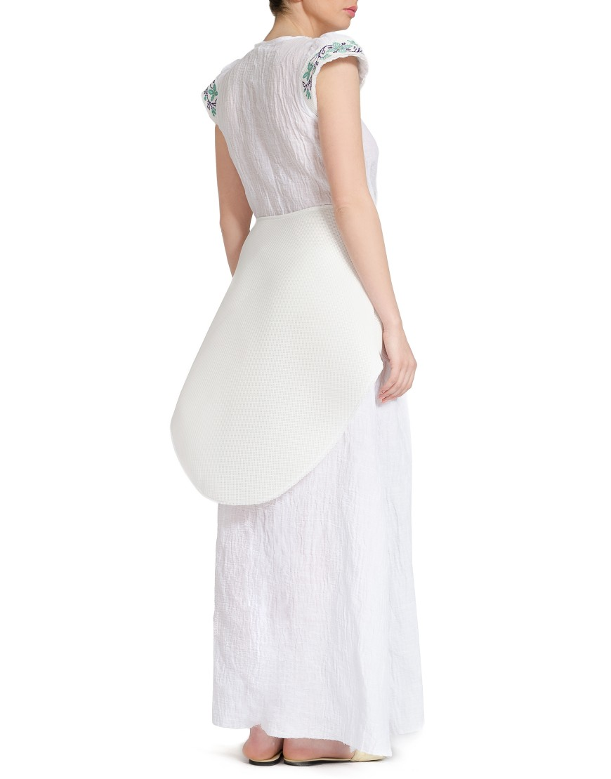 Spiral Flower Neoprene Dress in White