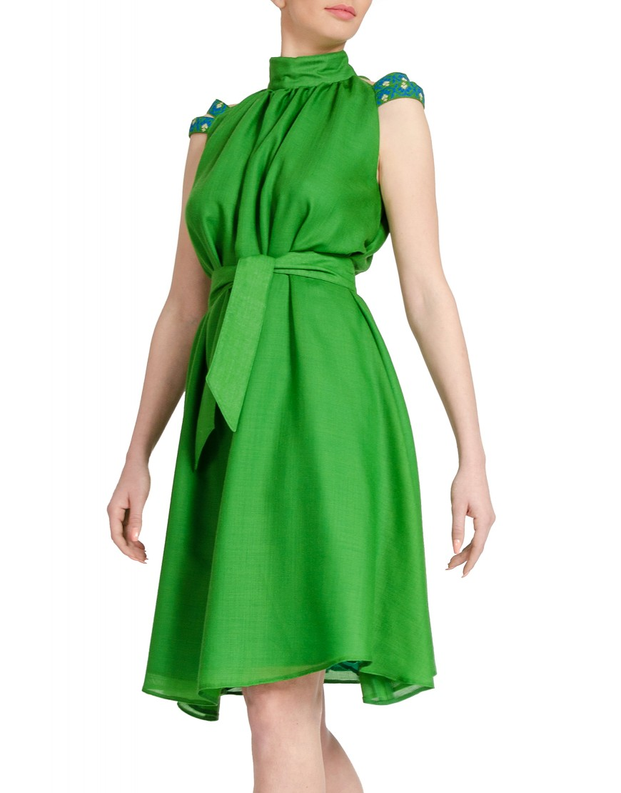 Stripes Wool Green Dress