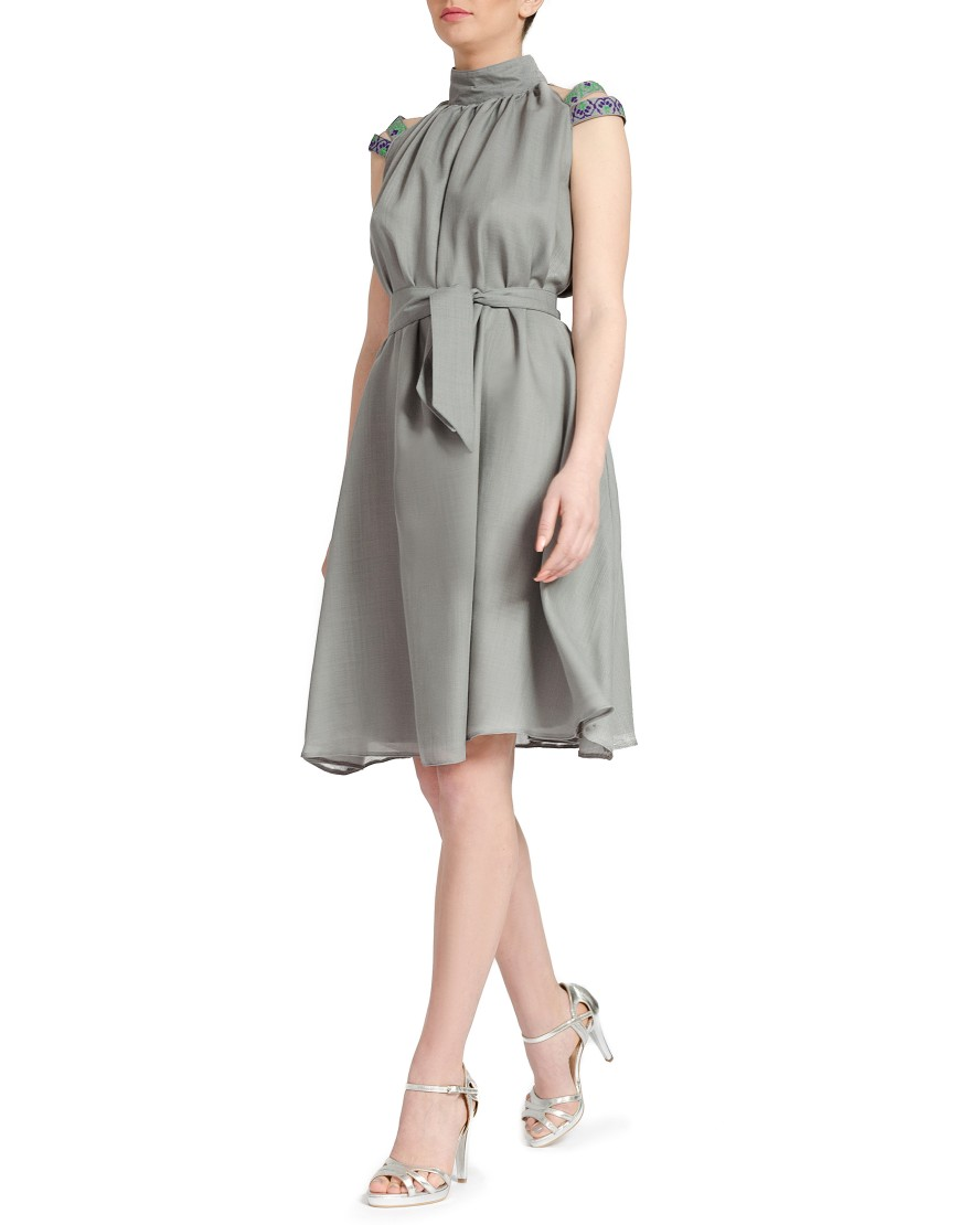 Stripes Wool Grey Dress