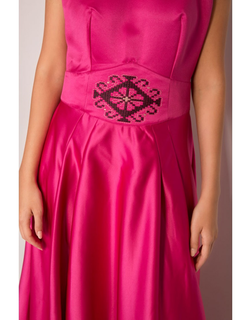 Diamond Silk Dressy Gown in Fuchsia