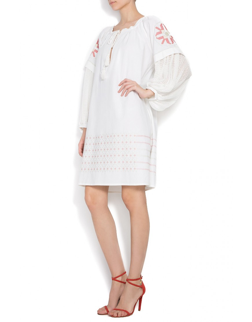 Caryo White Dress with Red touch